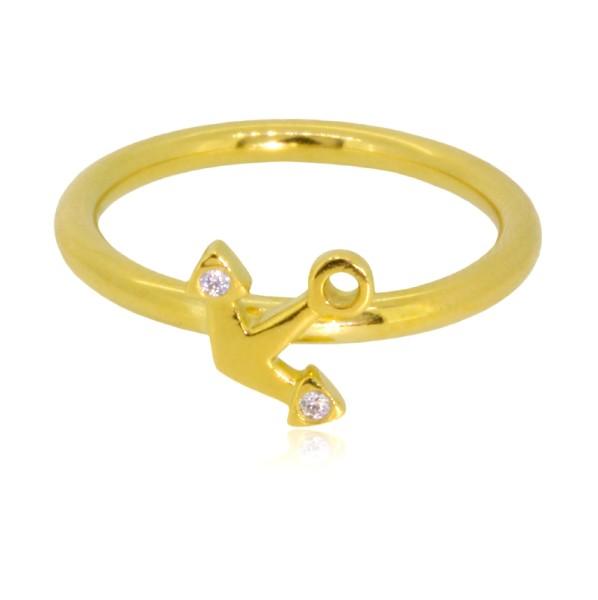 Edler Ring aus Gelbgold mit Anker und Brillanten fuer stilvolle Seglerinnen