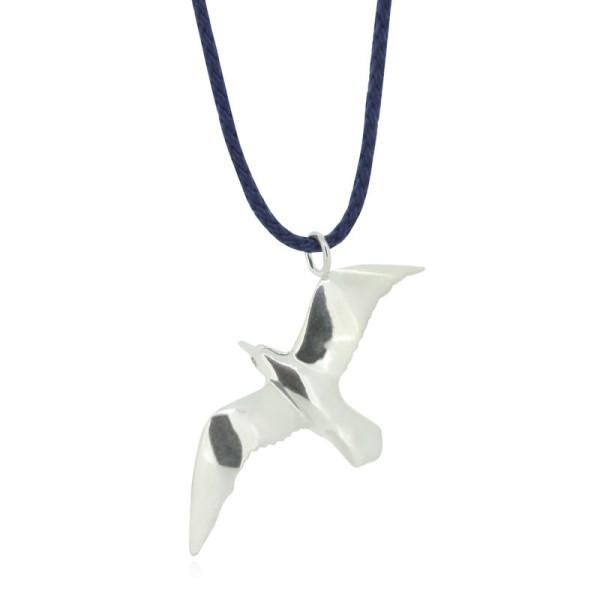 Anhaenger Moewe aus Silber an blauem Takelgarn online kaufen