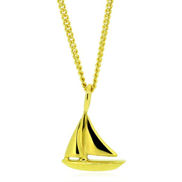 Gelbgold Kette mit Kettenanhaenger Segelboot aus 750 Gold von Trendklunker online kaufen