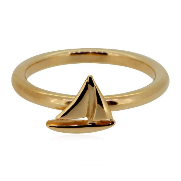 toller Ring mit kleinem Segelboot aus 585 Rosegold