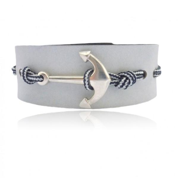 Cooles Lederarmband mit besonders großem Silber Anker super lässig für dein Casual Outfit