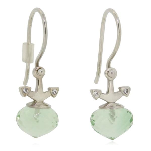 maritime Ohrringe mit Anker und Prasiolith hochwertig und maritim