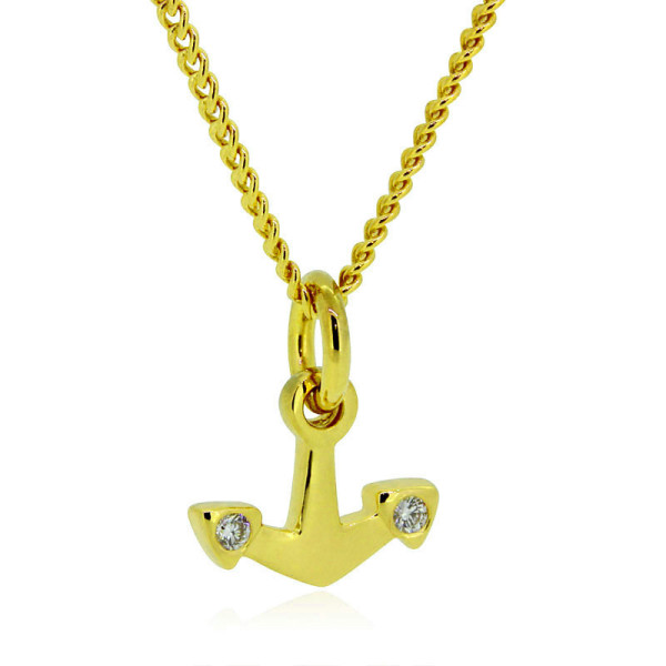 maritime Goldkette mit Mini Anker aus Gelbgold von Trendklunker online bestellen