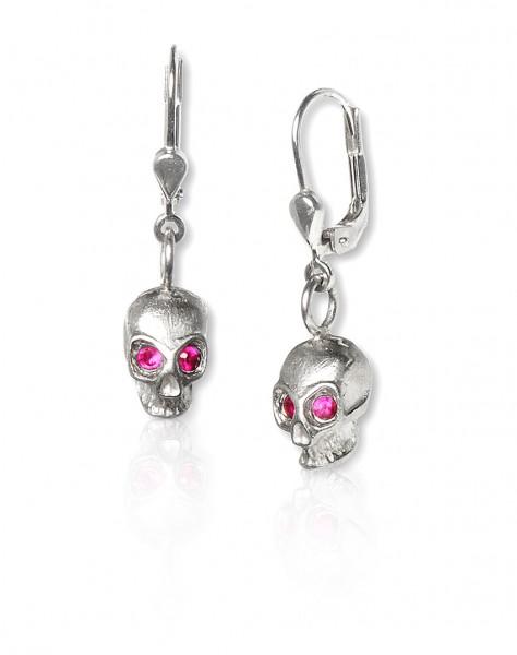 Unsere Silber Ohrhänger mit Totenkopf - handgemacht, stylisch und der perfekte Begleiter für dein Rockabilly Outfit!