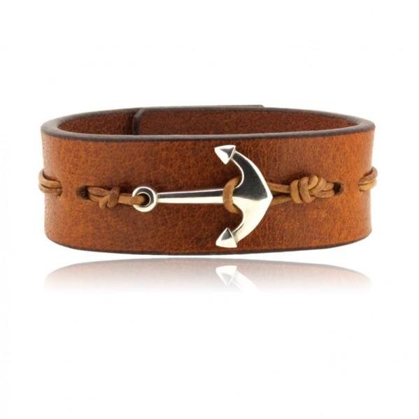 Herrenarmband aus Büffelleder und Silber Anker - ein schönes Schmuck Geschenk für Männer mit Liebe für Wind und Welle