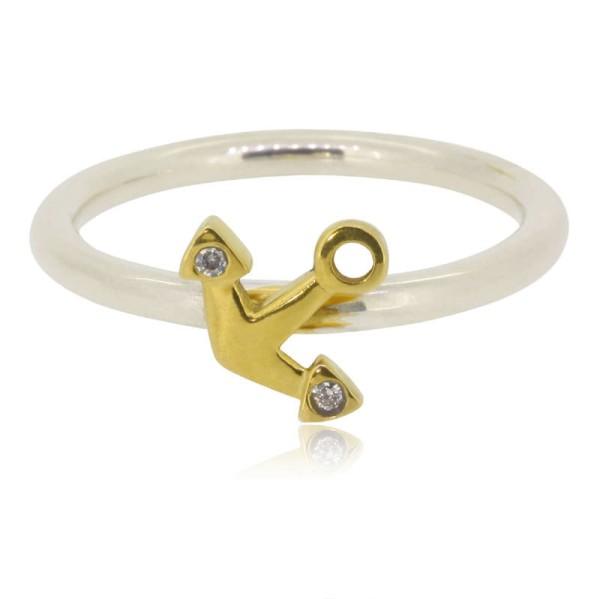 maritimes Schmuck Geschenk fuer Frauen Silberring mit Anker aus 585 Gold handgemacht in Deutschland