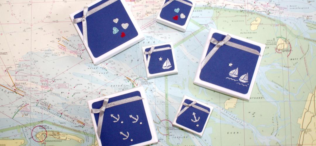 maritime Geschenkverpackungen helfen beim Verschenken von maritimem Schmuck von Trendklunker