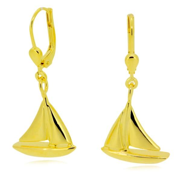 hochwertige Goldohrringe mit Segelyacht aus 585er oder 750er Gelbgold