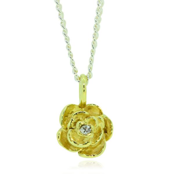 Silberkette mit Anhaenger Rose aus Gold 750 mit Brillant in Bluetenmitte