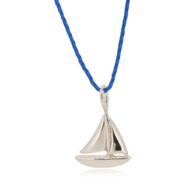 Garnkette hellblau mit Segelboot handgemacht bestellen