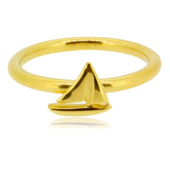 edel, stilvoll und maritim, Ring Segelyacht komplett aus 750er Gold