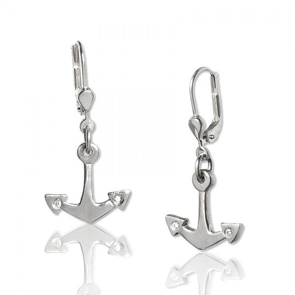 Unsere Silber Ohrhaenger mit Anker sind das ideale Accessoire für dein maritimes Outfit!