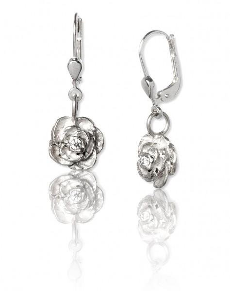 Unsere Silber Ohrhänger Rose aus Silber passen perfekt zu deinem lässigen Outfit rund um die Uhr!